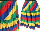 Reserved, please do not purchase - 70s Colorful Stripe Hang Ten Mini Skirt XS S