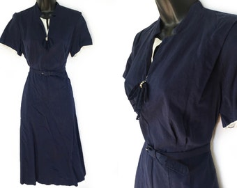 Vintage 50s Blue with Ivory Accents Dress M