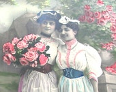 1907 Antique French Postcard, Edwardian ladies with flowers, RPPC paper ephemera.
