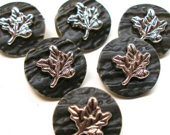 """6 faux bois buttons, Plastic leaf & imitation wood design. 3/4""""."""