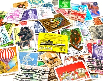 60 postage stamps, 1900-present, Assorted. Great for jewelry, altered art & mixed media.