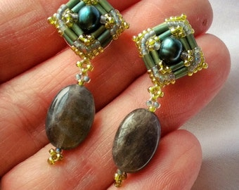 Hand Beaded earrings, with Emerald Green color Fresh water pearls, and Oval Labradorite stones, Sterling silver posts