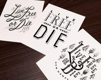 Live Free Or Die, Set of 3 prints