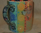 Beautiful  Bold Color On Hand Painted Fish Mug