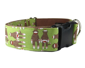 Wide Dog Collar - Custom Dog Collars - Cute Dog Collar in Green Sock Monkey Cotton!