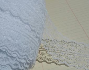 "Wide White Lace - Galloon Bright White Trim - 1 3/4"" Wide - Bridal Wedding Decor - 4 Yards"