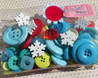 Winter Buttons Assortment - Aqua Red Green Buttons - Wood Snowflake Buttons - 80 Buttons - LAST SET