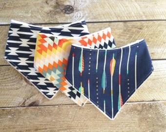 Tribal Baby Gift Set - Bandana Bib Set - Boho Baby - Baby Bandana Bib Set - Tribal Bib - Arrows Bib - Aztec Bib - Drooling