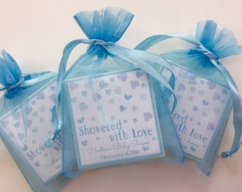 Baby Boy Shower Favor, Soap Favors, set of 10 Watercolor Blue Hearts, Showered with Love