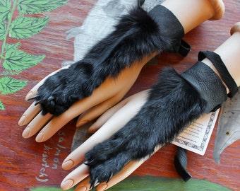 PAIR of black dyed Arctic fox paw legskin and deerskin handflowers bracelets belly dance tribal fusion costume