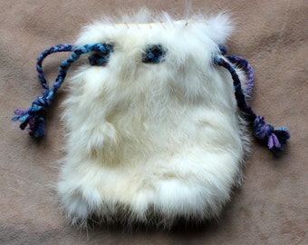 Vintage upcycled white rabbit fur drawstring pouch with braided yarn drawstrings dice tarot runes crystals
