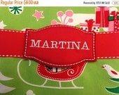 CHRISTMAS CLEARANCE SALE Embroidered Name Tag Stocking Marker Pin Broach