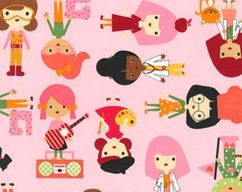 Garden Career Kids Pink//Ann Kelle//Girl Friends//Robert Kaufman//Available in Fat Quarters, Half Yards and Yards