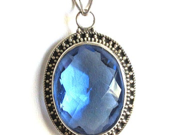 Ocean Iolite and Sterling Silver Pendant - 45x26x11mm - 5mm bail