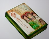 Our Lady of Fatima with Children -  Giclee print mounted on Wood (4 x 5 inches) Folk Art  by FLOR LARIOS