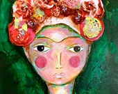 Lonely Frida -  Original Painting  14 x 18 inches Canvas - By FLOR LARIOS