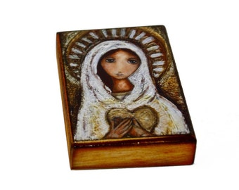 Blessed Mother - ACEO Giclee print mounted on Wood (2.5 x 3.5 inches) Folk Art  by FLOR LARIOS
