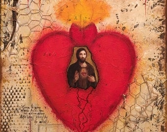 Come to your Senses Mexican Sacred Heart Painting