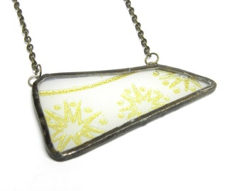 Broken plate necklace . Atomic starburst gold and frosted glass design . Mid century modern print . 1950s 1960s