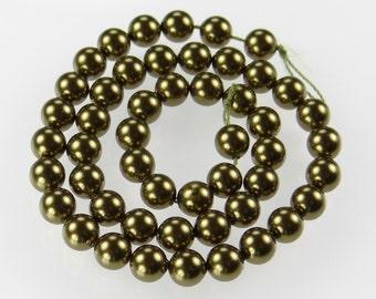 Set of 50 Genuine Swarovski Crystal 6mm Pearls in Antique Brass 5810
