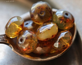 TOFFEE BRITTLE .. 10 Premium Picasso Czech Glass Rondelle Beads 6x9mm (4874-10)