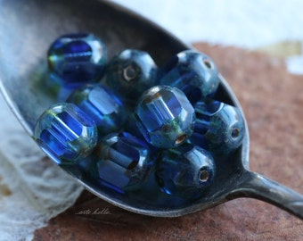 SAPPHIRE BLITZ .. 10 Picasso Czech Cathedral Beads 8x7mm (4902-10)