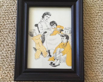 Vintage Framed Print 1960's Mom and Children Reading Bedtime Stories in Pajamas Yellow