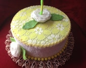Faux Fake Cake Box/ Centerpiece; Birthday gift box in yellow and white; vintage 60's retro look
