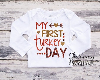Fall Thanksgiving Baby Girl Shirt, Coming Home,Toddler Girl Shirt, Baby Shower Gift, My First Thanksgiving Turkey Day Charming Necessities