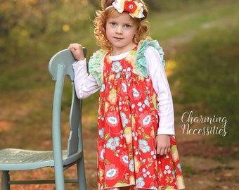 SALE Baby Girl Clothes, Toddler Girl Clothes, Red Aqua Yellow Double Flutter Sleeve Vintage Dress Fall in Truly Jane, by Charming Necessitie