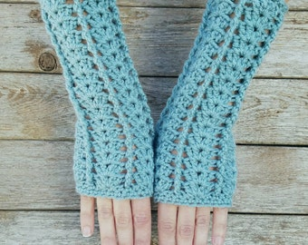 Fingerless Gloves Light Blue Womens Fingerless Gloves Womens Arm warmers Women's Gloves Baby Blue Arm Warmers Lacy Gloves - MADE TO ORDER