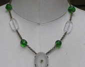 ON SALE Camphor Glass Necklace Green Bead Necklace Vintage Assemblage Jewelry Vintage Style