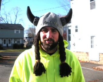FREE SHIP Gray Wool XL Viking Horned Beanie Hat with wool lining, pigtail snowboarding hat by Bearly Art Designs