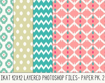 Commercial Use Ikat Layered Photoshop Files Pk 2, Png files. Instant Download. 12x12. Easy to Change Colors.