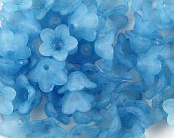 CLEARANCE Acrylic Bead 60 Bell Daisy Flower 5-Petal Blue Frosted 13mm x 7mm (1015luc13-34)os