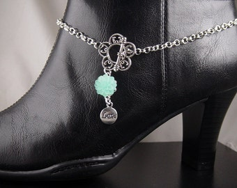 "Boot Jewelry Bracelet Silver Candy Topper Chain Flower Pendant Love Cowboy Hat Dress Party Charm Swarovski Crystals 14"" long (1015boo07-1)"