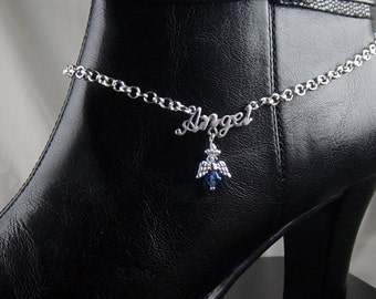 "Boot Jewelry Bracelet Silver Candy Topper Chain Pendant Swarovski Crystal Guardian Angel Charm 15"" long Adjustable length (1017boo07-1)"