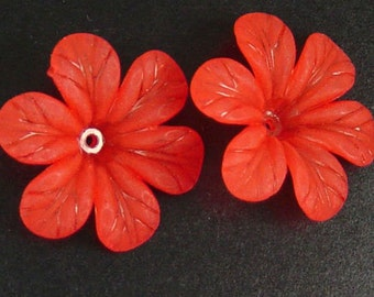 Acrylic Bead 8 Red Star Daisy Flower 6-Petal Point Frosted 33mm (1022luc33m3-4)