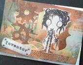 Edward Scissorhands greeting card, Tim Burton inspired postcard, A6, photo print, original pop-up card, steampunk, gears, rust, blue