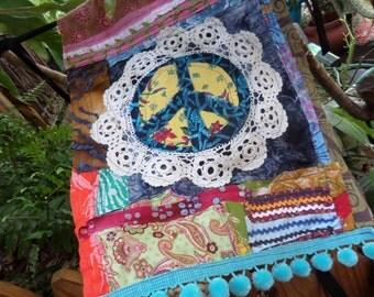 Peace flag, Prayer flag, quilted flag, C61, peace sign, crazy quilt, peace art, hippie decor, peace prayer, boho decor, hippie wedding,