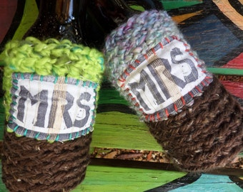 Mrs and Mrs, Beer cozy, Bride and Bride, Lesbian wedding, Gay Wedding, Boho Hippie, Gay Pride, C09, same sex, two brides, lesbian gift