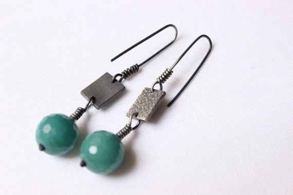 Dangly Mint earrings made of Sterling Silver , hand stamped,  with black patina and Turquoise jade