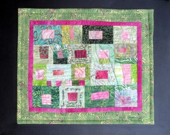 Pink / Green  Modern Art Quilt Wall Hanging | Season of Singing Has Come