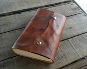 Medium Dark Leather Sketchbook With Snap Closure, Blank Hand Dyed Brown Distressed Leather Journal, Leather Wedding Guest Book, Art Journal