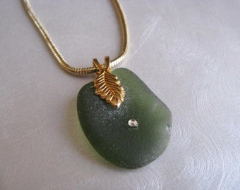 Olive Green Sea Glass - Sea Glass Jewelry - Beach Glass Jewelry