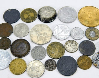 Old Coins and Tokens Lot of Assorted Sizes Shapes Colors Foreign Money for Collecting or Crafting 25 Total Pieces