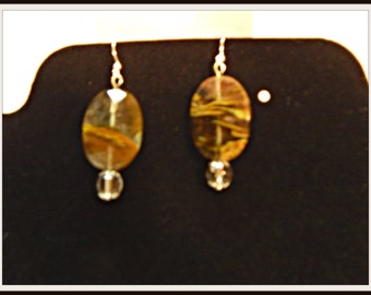 Earrings: Lava Quartz focal with round crystal quartz.