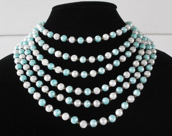 50s 60s Vintage Beaded Bib Necklace Turquoise and White