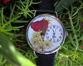 Red Womens Watch, Leather Wrist Watch with Pressed Red Rose and Leather Band Bracelet Woman