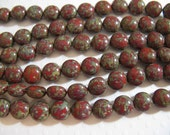 Candy Beads, 8mm 2 Hole beads designed to use with other Czech 2 hole beads - Red Travertine - 20 beads